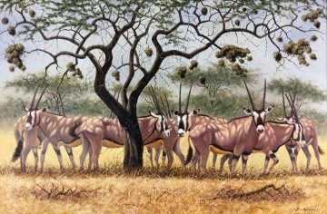 Gazelles 1990 30x42 Original Painting - Bo Newell