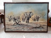 African Elephants 1975 30x44 Super Huge Original Painting by Bo Newell - 1