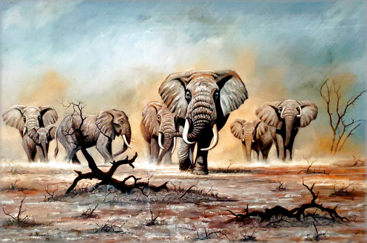 African Elephants 1975 30x44 Super Huge Original Painting by Bo Newell