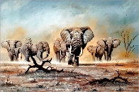 African Elephants 1975 30x44 Super Huge Original Painting by Bo Newell - 0