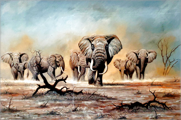 African Elephants 1975 30x44 Original Painting by Bo Newell
