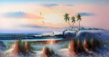 Untitled Seascape 27x51 Super Huge Original Painting - Harold Newton