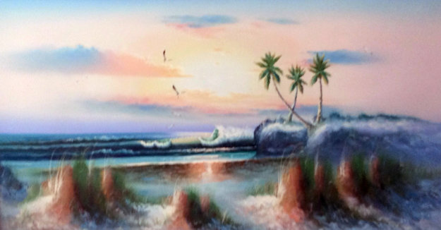 Untitled Seascape 27x51 Original Painting by Harold Newton