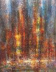 City in the Fog 1966 31x39 Original Painting - Leonardo Nierman