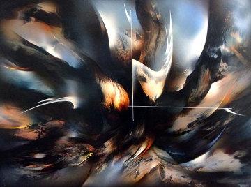 Serie Del Buque Fantasma 1960  35x49 Original Painting - Leonardo Nierman