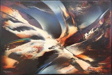 Birth of Lightning 1987 30x37 Original Painting - Leonardo Nierman