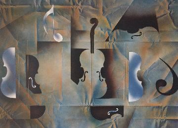 Cielo Azul Violines 45x39 Original Painting - Leonardo Nierman
