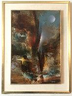 Imaginary Landscsape 1982 30x23 Original Painting by Leonardo Nierman - 1