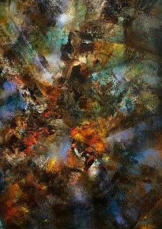 Untitled Painting 1974 54x86 Original Painting - Leonardo Nierman