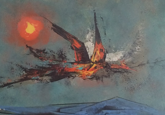 Firebird 1962 22x30   Original Painting by Leonardo Nierman