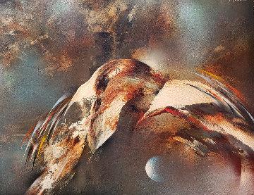 Vuelo a La Luna 1980 36x26 Original Painting - Leonardo Nierman
