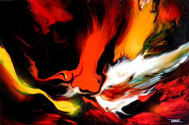 Lava 22x30 Original Painting by Leonardo Nierman