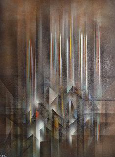 Ciudad Prismatica 51x39 Huge Original Painting - Leonardo Nierman