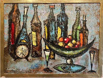 Still Life With Clock And Wine Bottles 1958 (Early) 26x34 Original Painting - Leonardo Nierman