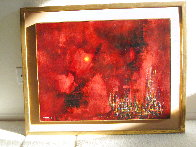 City Sunset 1963 32x39 Super Huge Original Painting by Leonardo Nierman - 1