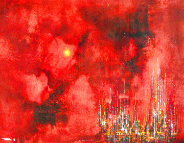 City Sunset 1963 32x39 Super Huge Original Painting - Leonardo Nierman