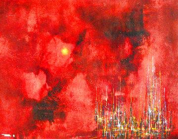 City Sunset 1963 32x39 Super Huge Original Painting - Leonardo Nierman