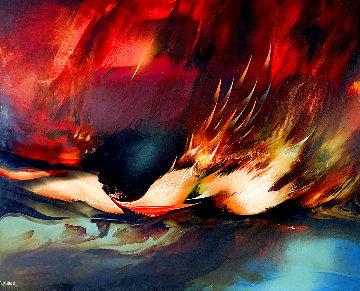 Birth of Fire 1977 32x40 Original Painting - Leonardo Nierman