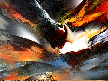 Volcanic Fury 1992 36x48 Huge Original Painting - Leonardo Nierman
