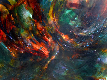 Momento De Vuelo, Moment of Flight 1965 32x40 Super Huge Original Painting - Leonardo Nierman