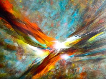 Cosmic Wind 1970 37x49 Original Painting - Leonardo Nierman