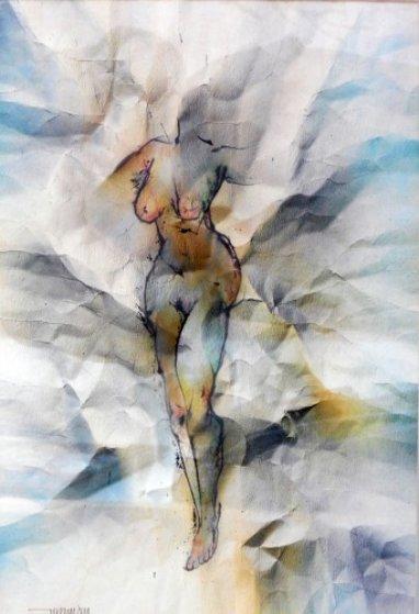 Nude Watercolor 23x18 Original Painting by Leonardo Nierman