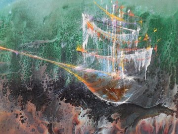 Cosmic Ship 1964 Early work Original Painting by Leonardo Nierman