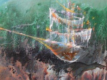 Cosmic Ship 1964 Early work Original Painting by Leonardo Nierman
