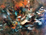 Autumn Wind 1977 37x49 Super Huge Original Painting by Leonardo Nierman - 0