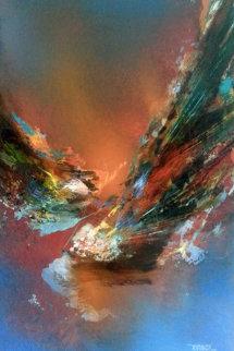 Fuego Magico 29x22 1975 Original Painting - Leonardo Nierman