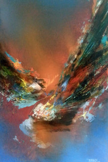 Fuego Magico 29x22 1975 Original Painting by Leonardo Nierman