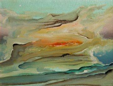 City on Fire 1970 20x24 Original Painting by Leonardo Nierman