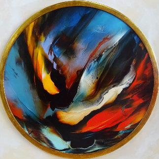 Untitled Round Painting 1970 38x38 Original Painting by Leonardo Nierman