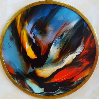 Untitled Round Painting 1970 38x38 Original Painting - Leonardo Nierman