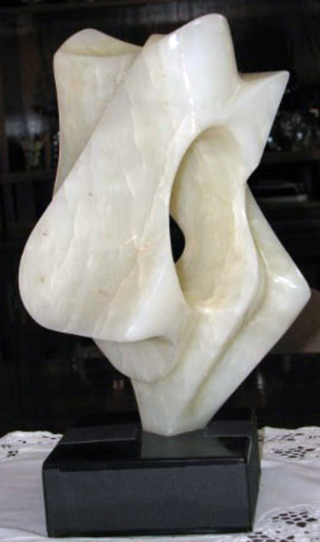 Enigma White Onyx Sculpture 1974 Sculpture by Leonardo Nierman