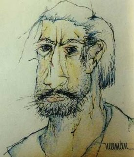 Self Portrait 12x9 Works on Paper (not prints) - Leonardo Nierman