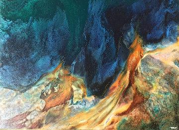 Prehistoric Landscape 36x48 Original Painting - Leonardo Nierman