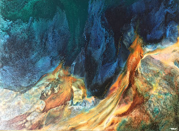 Prehistoric Landscape 36x48  Huge Original Painting - Leonardo Nierman