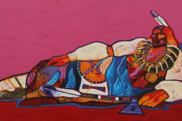 Reclining Ponca Chief 1997 Limited Edition Print - John Nieto