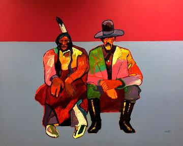 Cheyenne With Interpreter 1992 56x66 Original Painting by John Nieto