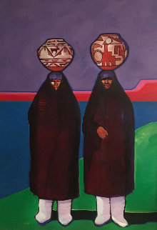 Olla Bearers 1984 42x32 Super Huge Original Painting - John Nieto