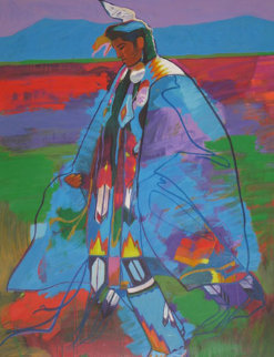 Dancer at Taos Pow Wow AP 1994 34x27 Limited Edition Print - John Nieto