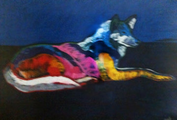 Wolf Lying Down 1998 Embellished Limited Edition Print - John Nieto