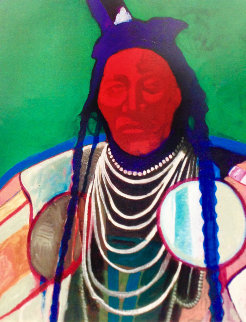 Crow Warrior 2000 44x40 Original Painting - John Nieto