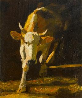 Cow 2014 47x39 Super Huge  Original Painting - Robert Nizamov