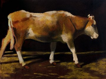 Cow 2014 41x55 Original Painting - Robert Nizamov