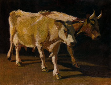 Cows 2014 39x54  Original Painting - Robert Nizamov