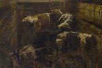 Calves 2019 41x57 Original Painting - Robert Nizamov