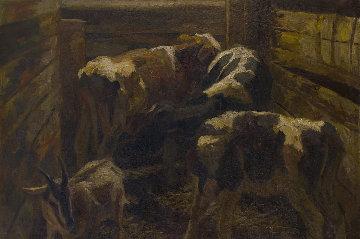 Calves 2019 41x57 Original Painting by Robert Nizamov