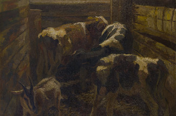 Calves 2019 41x57 Original Painting by Robert Nizamov